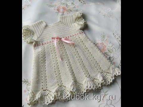 Crochet dress| How to crochet an easy shell stitch baby / girl's dress for beginners 43 - YouTube
