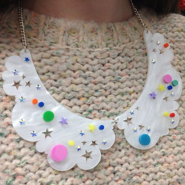 Sarah teams our Head in the Clouds Collar Necklace with a pastel knit. Cute!