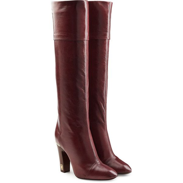 Marc Jacobs Leather Knee Boots ($1,200) ❤ liked on Polyvore featuring shoes, boots, red, red leather boots, leather knee high boots, red knee boots, genuine leather boots and knee high boots