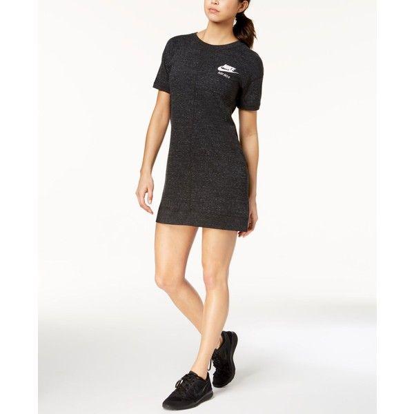 Nike Gym Vintage Dress ($60) ❤ liked on Polyvore featuring dresses, black, jersey knit dress, jersey fabric dress, nike dress, vintage dresses and vintage day dress