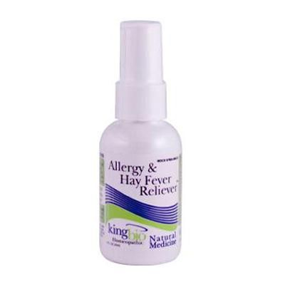 King Bio Homeopathic Allergies and Hay Fever - 2 fl oz  For fast relief of head and nasal congestion; mucus discharges; sneezing; cough; hoarseness; sore throat; red, itchy or watery eyes; sensitivity to light; ears that ring or itch; dry mucus membranes or lips.