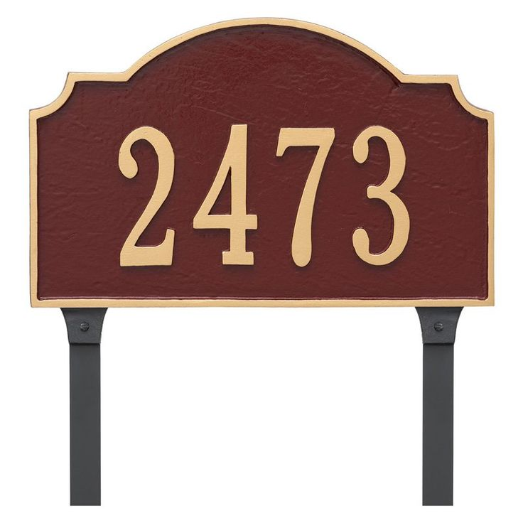 Montague Metal Vanderbilt Estate Address Sign Lawn Plaque - PCS-0060E1-L-SIB