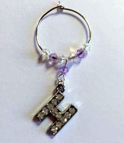 Letter 'H' Wine Glass Charm - with Swarovski Crystals - birthstone gift idea by Makewithlovecrafts on Etsy