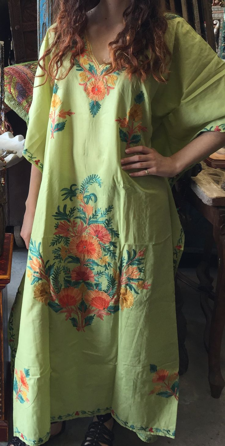 Kashmiri Crewel traditional embroidered Designer Style Soft Crinkle Crepe Fabric Relaxed fit, multiple uses. Stylish caftan works as a coverup on beaches or at a resort or layer it in the colder days and style as lounge wear.