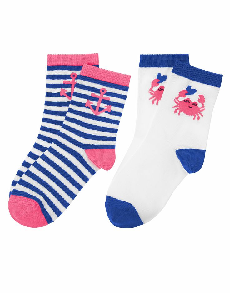 She'll be stylish down to her toes in our nautical sock two-pack. Smiley crab and colorful anchor designs match perfectly with spring outfits.