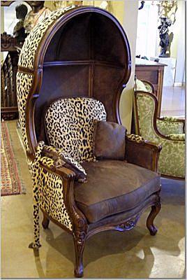Custom hooded chair in leopard spot chenille and faux suede with pillows ~Pettigrew Associates