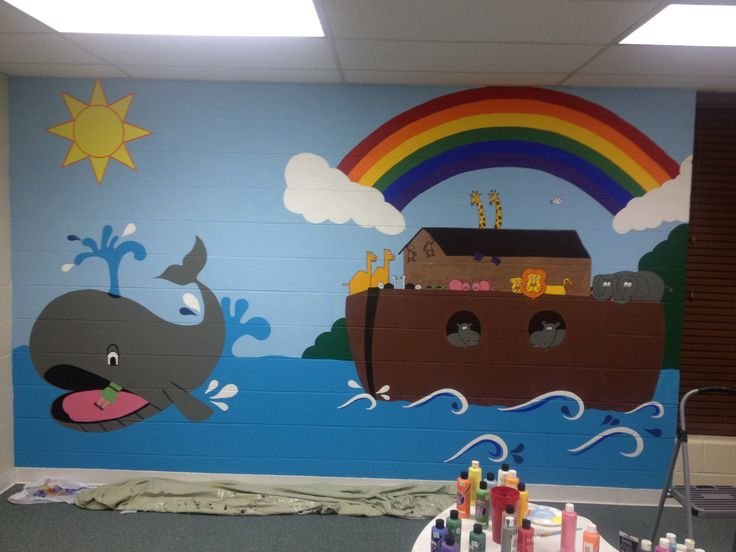 25 best ideas about sunday school decorations on for Creation mural kids