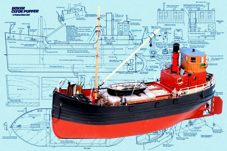 "Details about Model Boat Plans 20"" Radio Control BOXER CLYDE PUFFER Full Size Printed Plans ..."