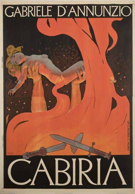 Locandina del film muto Cabiria di Giovanni Pastrone 1914, con la sceneggiatura di Gabriele D'Annunzio, 1914, Milano, Officine Giulio Ricordi & C.