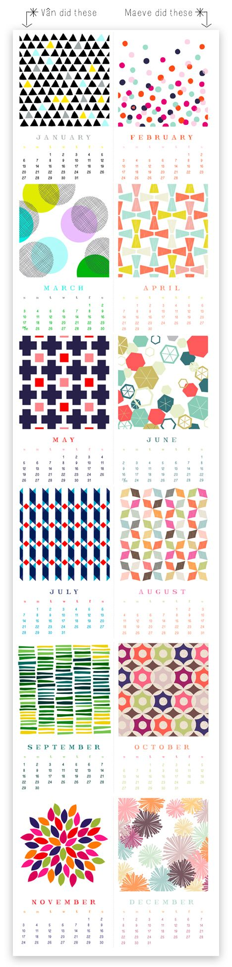 Free 2013 calendar by Vân Tran Monnier of http://rhymeswithfun.blogspot.com/ and Maeve Parker of www.maeveparker.com.