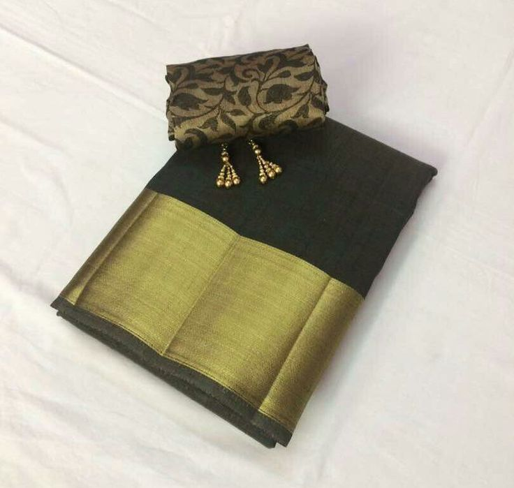 Plain tussar saree with running blouse and extra satin blouse