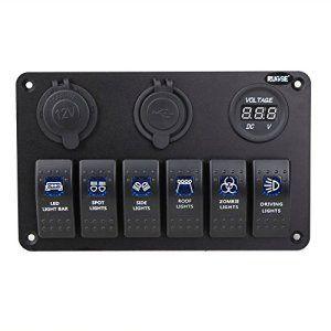 Rupse – 6 Gang Impermeable IP68 Interrupteur à Bascule Disjoncteur Panneau LED avec Prise de Courant , Dual USB Chargeur ,Voltmètre pour…