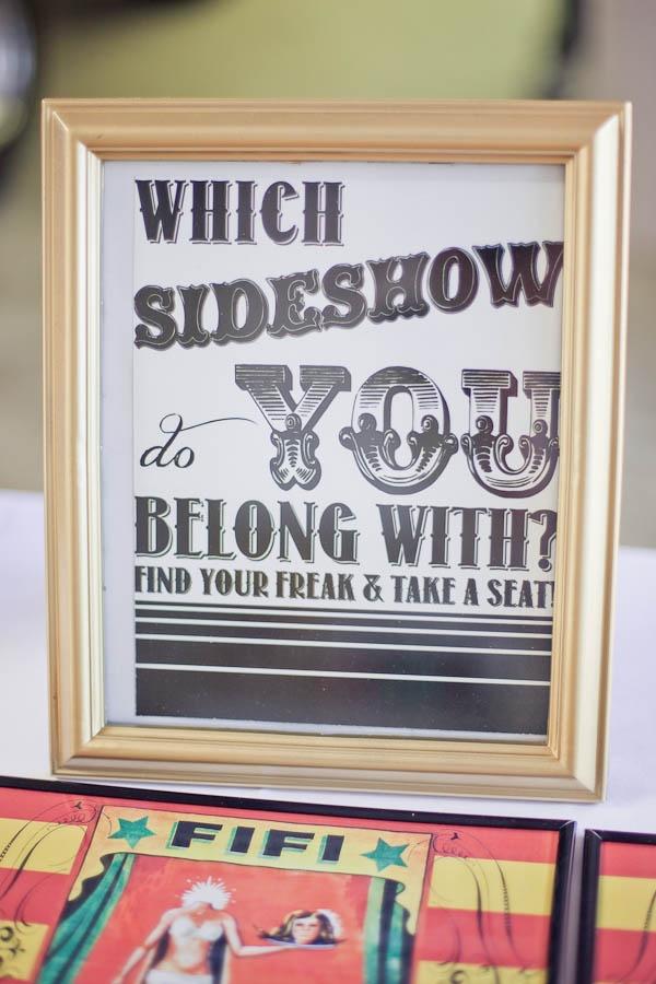 A Circus & Sideshow Freaks Wedding: Sideshow carnival wedding