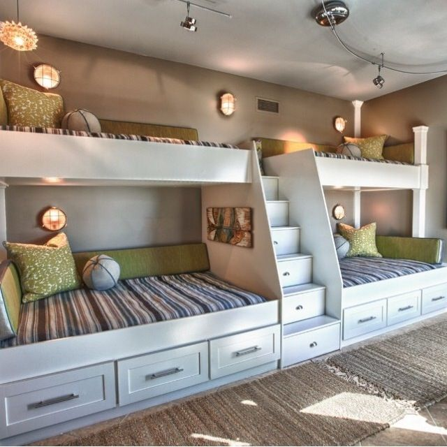 Double bunk beds children 39 s bedroom arquitetura e for 4 bunk beds in a room