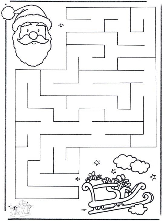 Se repérer dans l'espace : le jeu du labyrinthe - le Père Noël et son traîneau