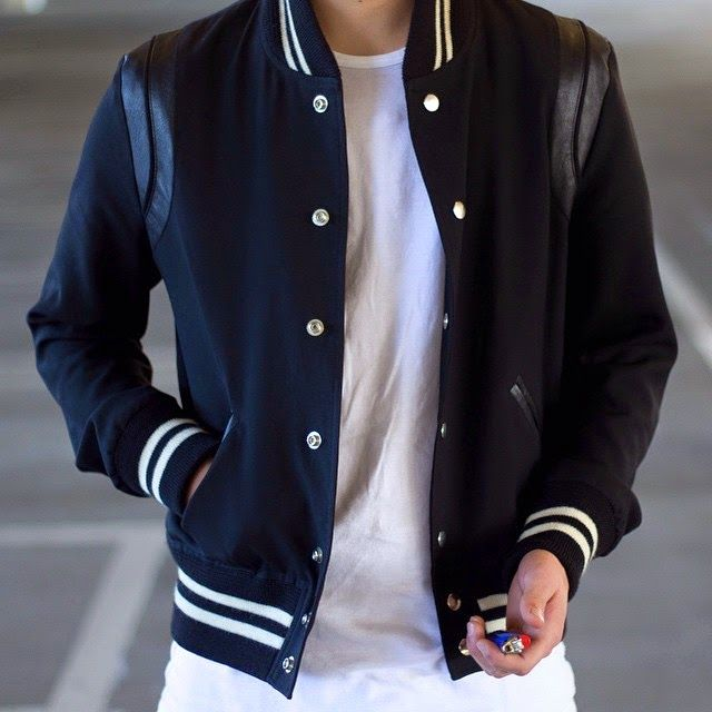SAINT LAURENT Black Men's Varsity Jacket - SPENTMYDOLLARS | Fashion Trends, Shoes, Bags, Accessories for Men