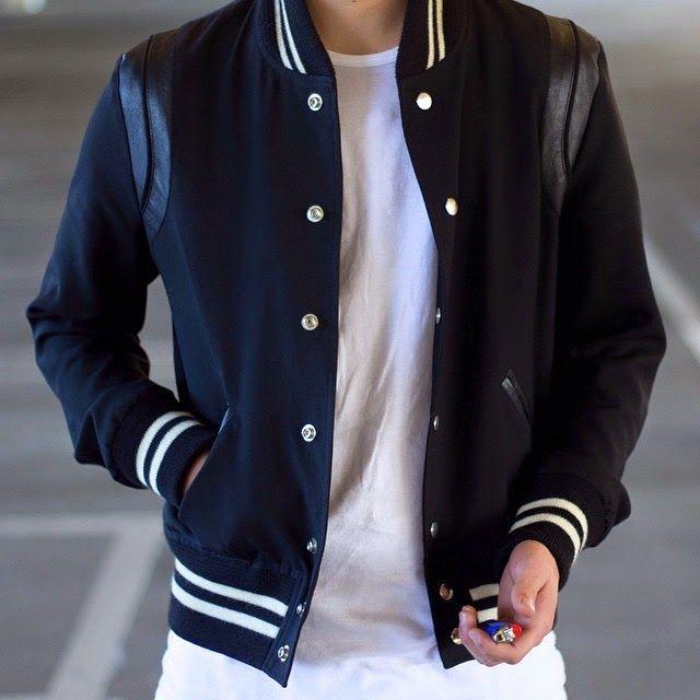 SAINT LAURENT Black Men's Varsity Jacket - SPENTMYDOLLARS | Fashion Trends, Shoes, Bags, Accessories for Men