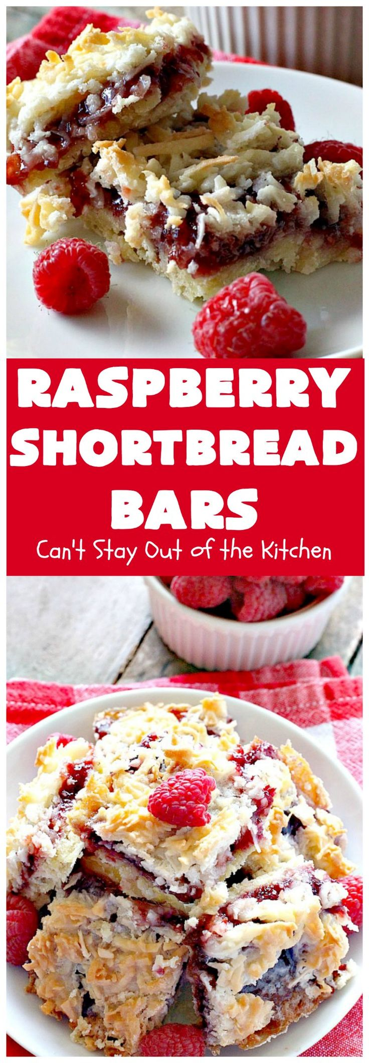 Raspberry Shortbread Bars | Can't Stay Out of the Kitchen | these cookie type bars are absolutely divine! They have a shortbread crust, topped with raspberry preserves & a coconut topping. You'll be drooling over every bite!