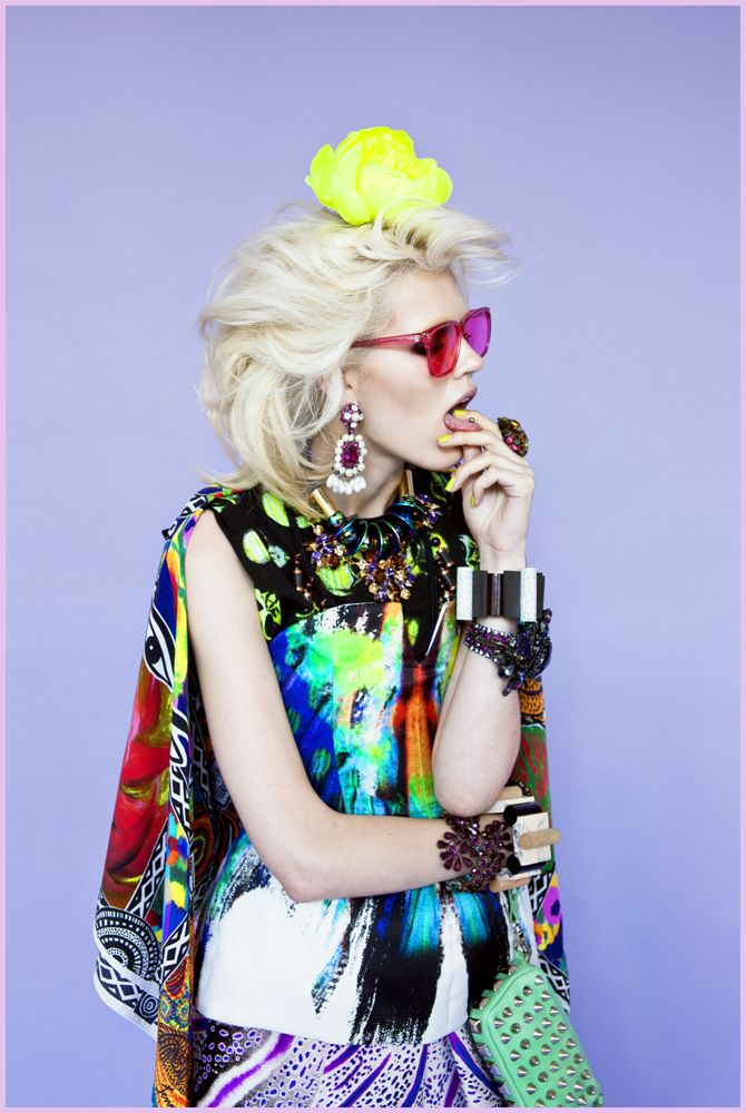 oystermag:    Oyster Fashion: 'Power and Passion' by Mark Vassallo & Byron Spencer  Josh Goot top and skirt, Jenny Kee scarf and pants, Emma Mulholland shirt, Isobel Badin hand-painted flowers, Sheriff & Cherry sunglasses, 2 by Lyn and Tony necklace, Elke Kramer bracelets, vintage earrings, jewelled necklace and cuff all from Harlequin Market, Rachael Ruddick bag