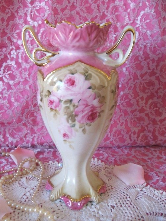Hand Painted Pink Roses Victorian Style Double Handled Vase-Hand Painted, Roses, Pink, Perfume, Vanity, Shabby, Pink,Victorian, Vintage, Porcelain, China,