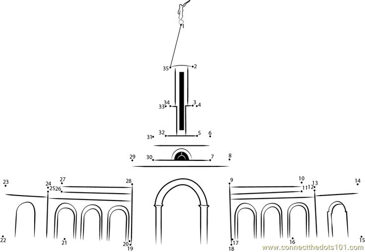 Sacramento Mormon Temple dot to dot printable worksheet