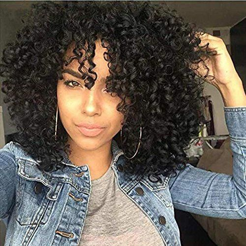 RUISENNA Afro Curly Hair Wigs for Black Woman Short Kinky Hair 100% Heat Resistant Fiber Synthetic Wig