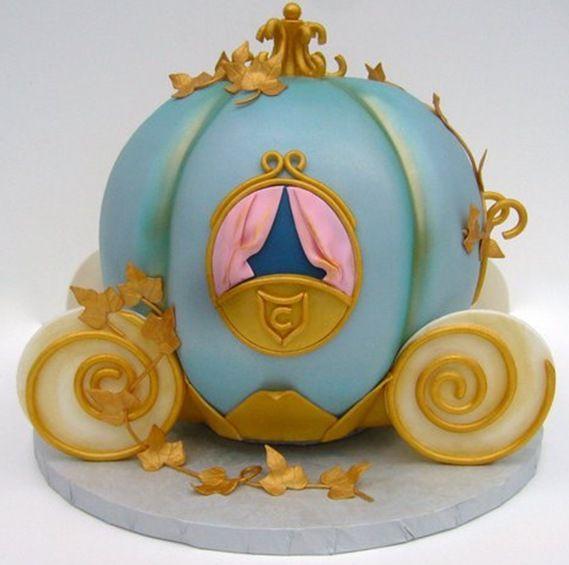 Charming cinderella carriage cake. Learn how to create your own amazing cakes: www.mycakedecorating.co.za #disneycake #moviecake #birthdaycake