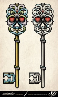 skeleton key traditional tattoo (but with sugar skull??)