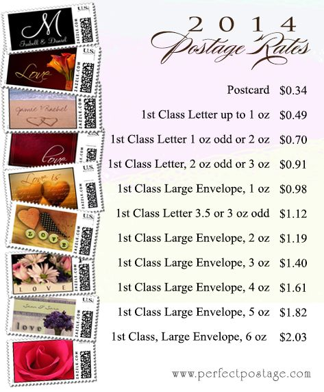New Postage Rate Chart for 2014 - Custom Wedding stamps from  Perfect Postage available in all of these values!  Repinned by Annie @ www.perfectpostage.com