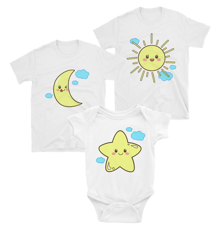 Sun Moon Star Matching Family T-Shirt and Onesie Set – Winky Shiba Co.