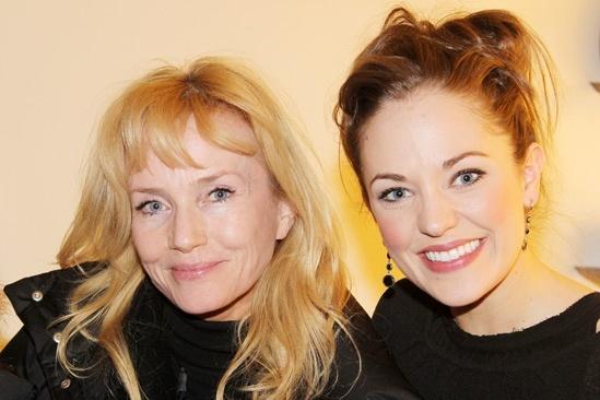 Risky Business star Rebecca De Mornay congratulates Laura Osnes backstage.