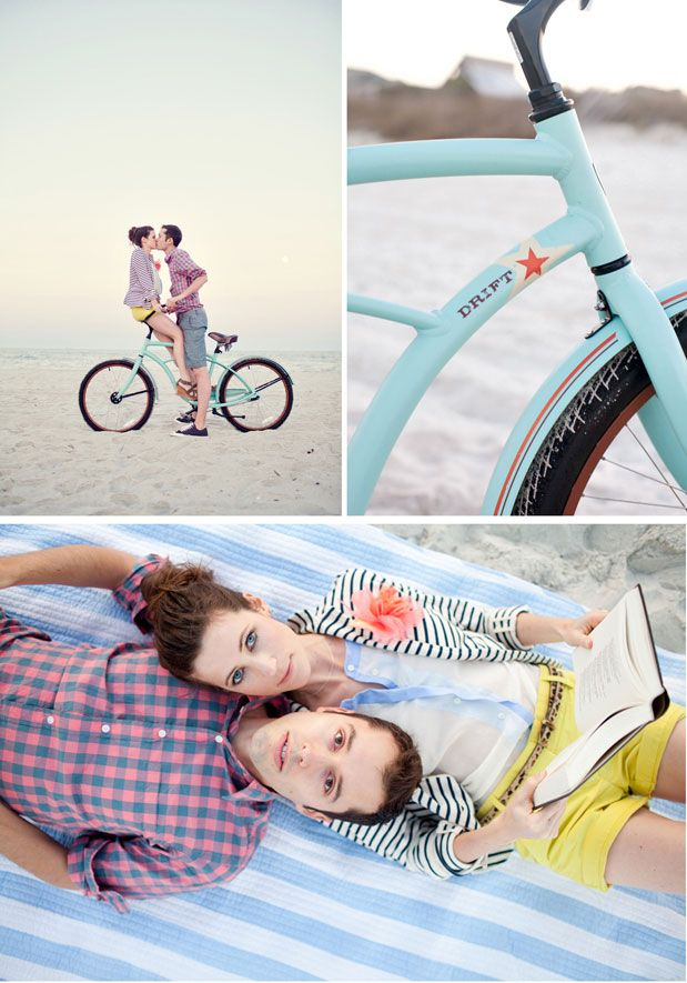 LOVE : Beach+bike engagement photos <3 And her outfit is so perfect.