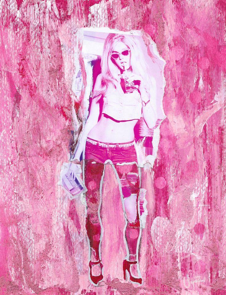 Rossi,...Serie Fashion Girl, Acrílico, Fotografía, pastel sobre papel (Pittura).  #Sckect, #Collage #Collageart