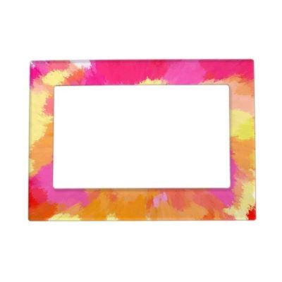 Splashes of hot pinks and bright golds magnetic photo frame...$17.70