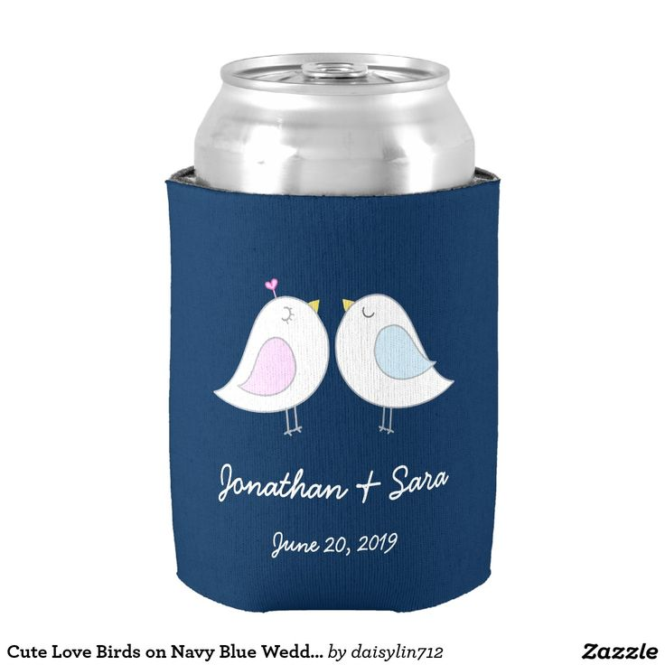 zazzle wedding invitations promo code%0A Cute Love Birds on Navy Blue Wedding Can Cooler