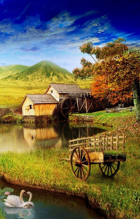 Wooden Wagon And Water Mill In Autumn