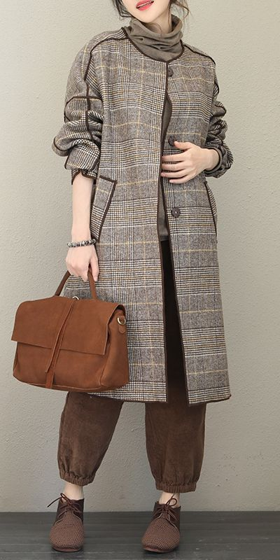 Fashion Quilted Gray Plaid Woolen Long Coat For Women Q1733