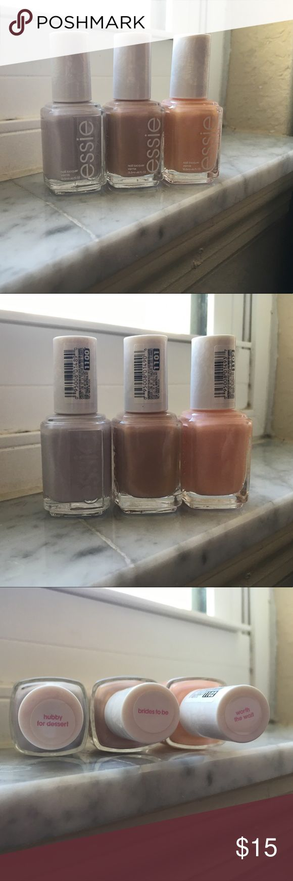 """NEW Essie Bridal Collection FULL SIZE Color Trio 1100 """"Hubby for Dessert""""; 1101 """"Brides to Be""""; 1102 """"Worth the Wait"""" All Nail Polishes are Lovely, Delicate Colors!!! Essie Makeup"""