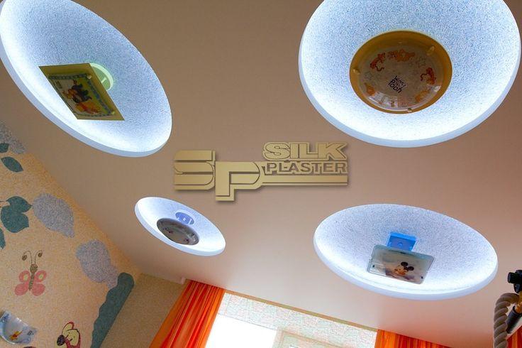 #Ремонт #потолка #своими_руками- идеи #дизайна с #отделкой #жидкими_обоями (#шёлковой_штукатуркой) #SILK_PLASTER.  https://www.plasters.ru/info/design-ideas/zhidkie_oboi_na_potolke/