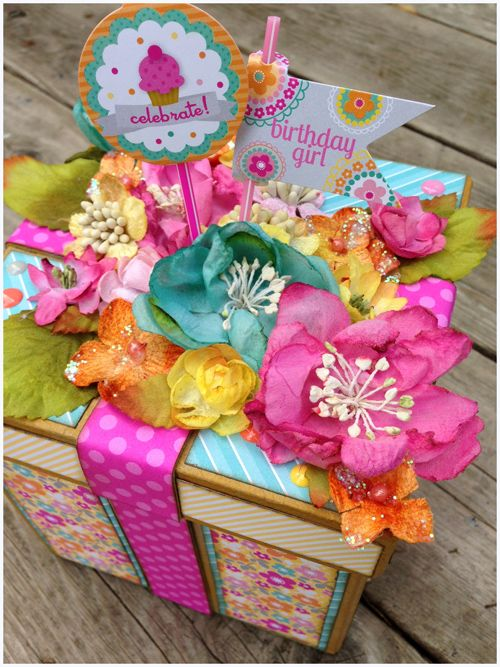 Fun Birthday Box by Stacy Rodriguez.  It features Sweet Shoppe paper from Doodlebug Designs and lots of Petaloo Botanica flowers, berries and trims!  LOVE IT...