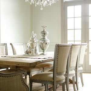 Decor de Provence - dining rooms - modern, French, rustic, trestle, dining table, linen, nailhead trim, gray, French, dining chairs, mercury glass, canisters, vases, crystal chandelier, transom, windows, French doors, french table, french dining table, , Oly Studio Sarah Side Chair,