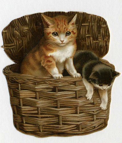 Small Shaped Victorian Christmas Card 2 Cats in A Hamper Pub H F No 906 |
