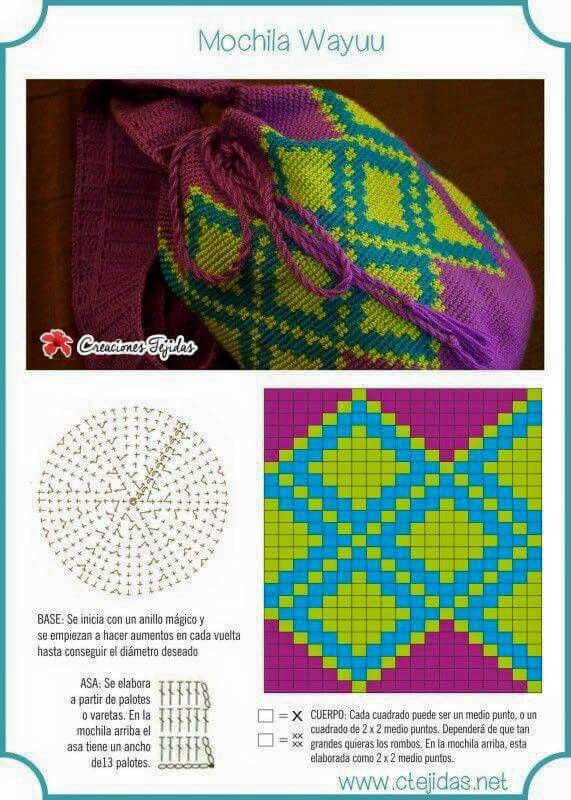 Crochet tapestry Wayuu bag