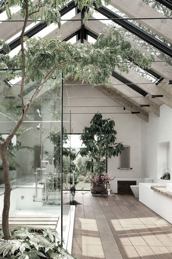 big bathroom with plants, bringing the outside in!