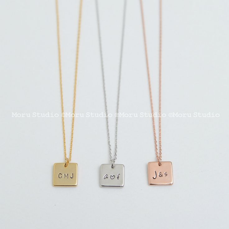 Personalized Square Bar Necklace/ Square Tag, Name Plate Initial Necklace, Hand…