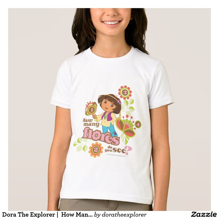 Dora The Explorer |  How Many Flores Do You See? T-Shirt. Producto disponible en tienda Zazzle. Vestuario, moda. Product available in Zazzle store. Fashion wardrobe. Regalos, Gifts. Trendy tshirt. #camiseta #tshirt