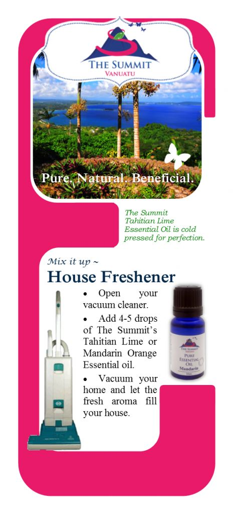 Freshen You Home with Essential Oils from The Summit and your own Vacuum Cleaner.