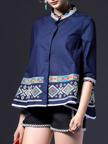 Embroidered Cotton-blend Blouse