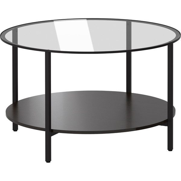 IKEA VITTSJÖ Coffee table, black-brown, glass ($50) ❤ liked on Polyvore featuring home, furniture, tables, accent tables, coffee table, ikea, glass shelves, glass shelf, glass top table and glass table