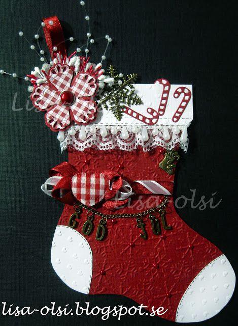 Christmas stocking julstrumpa scrapbooking https://lisa-olsi.blogspot.se/